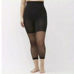 Spanx Footless High Waist Capri Black Sheer Hose